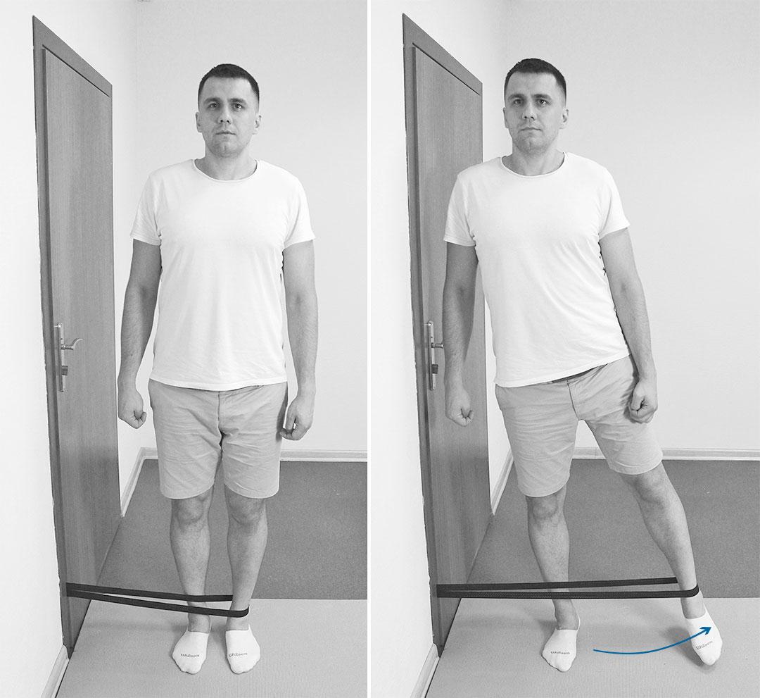 Отведение ноги с эспандером